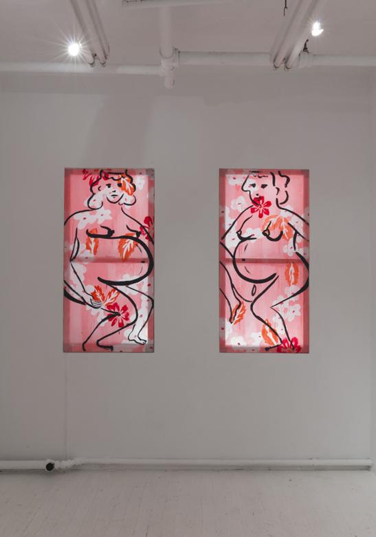 Bump Positive (left light box) & Bump Positive (right light box) , 2017. Acrylic on silk. 58 x 28 inches each.