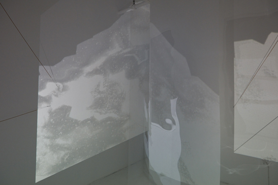 Soon enough roads will be rivers , 2017 (detail). 2-channel video, piano strings, custom software, electronics, architectural vellum screens, acetate film screens, 3D printed porcelain. Dimensions variable.