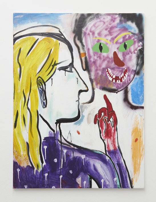 Cristina de Miguel, Middle Finger Salute, 2016. Acrylic, flashe, spray paint on canvas. 40 x 30 inches.