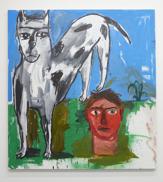 Cristina de Miguel, Dog, Head, Plant, 2016. Oil on canvas. 54 x 48 inches.