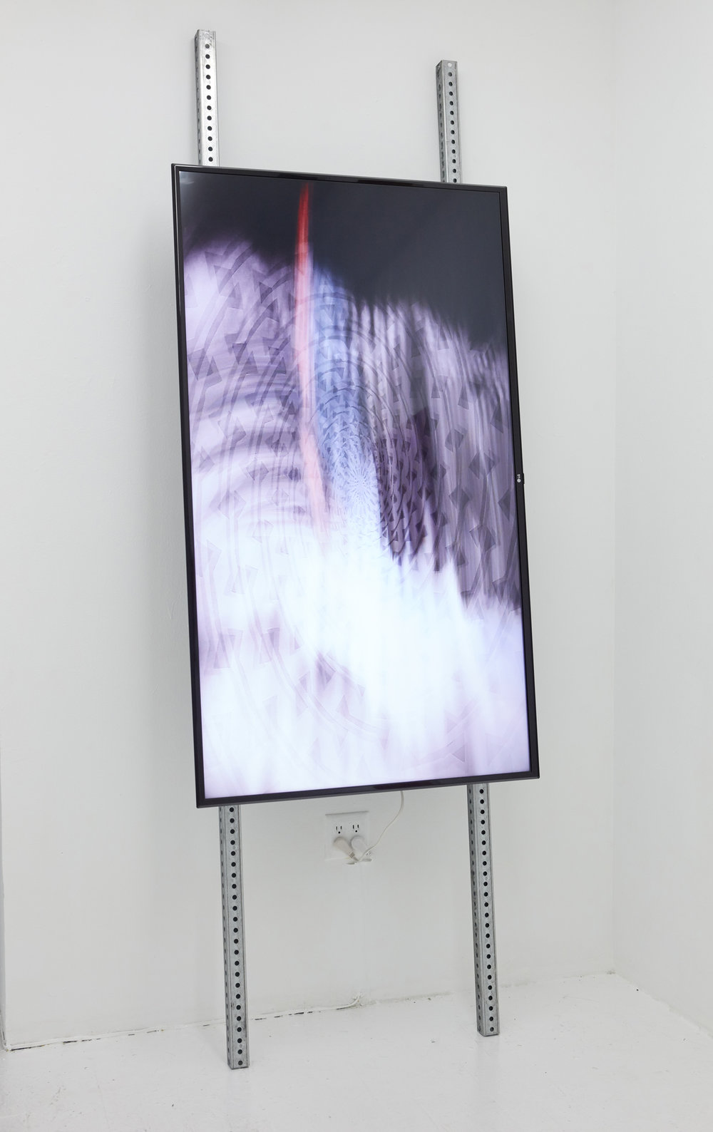 Mt. Sinai Movement,  2018. Steel, electronics, 4K video on monitor, silent. 2.45 minutes. 96 x 33 x 12 inches.