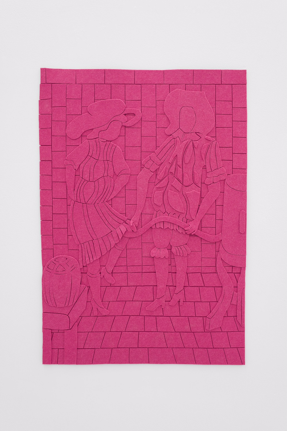 Spencer Lai,  pink (mechanism) , 2017. Synthetic felt, adhesive. Courtesy of the artist and Kimberly-Klark, New York.