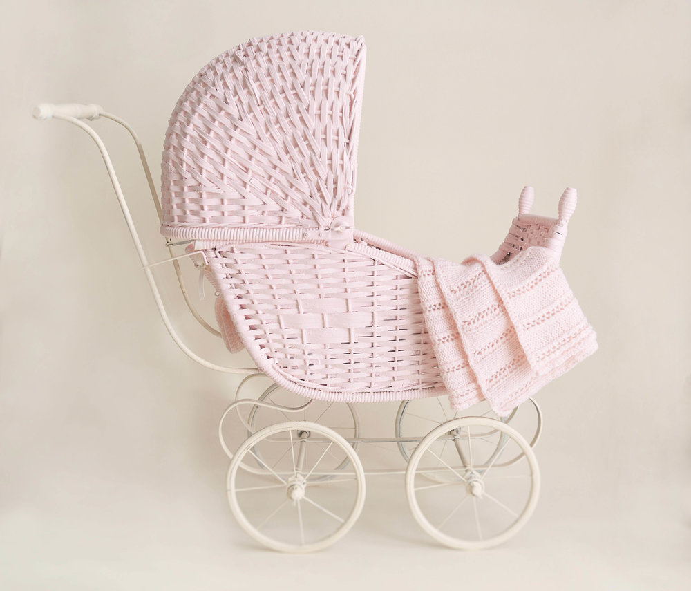 This baby buggy is a popular prop for newborn baby girl and newborn with sibling sessions.