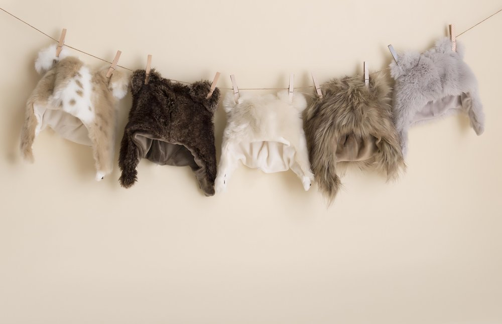 Our bear hats from Restoration Hardware are unbearably cute.They range in size from newborn to child.