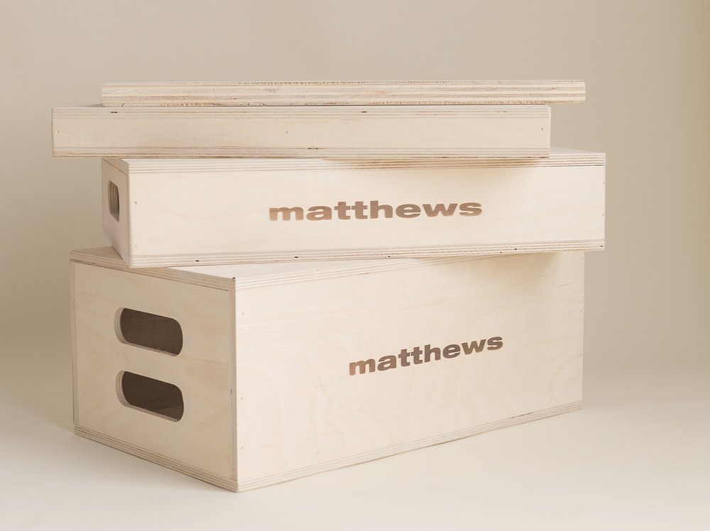 Apple Boxes  are one of the handiest tools to in our studio. We use them for propping or leveling, sitting or standing. They are professional grade and precisely made, supported in the center, and dimensionally correct.
