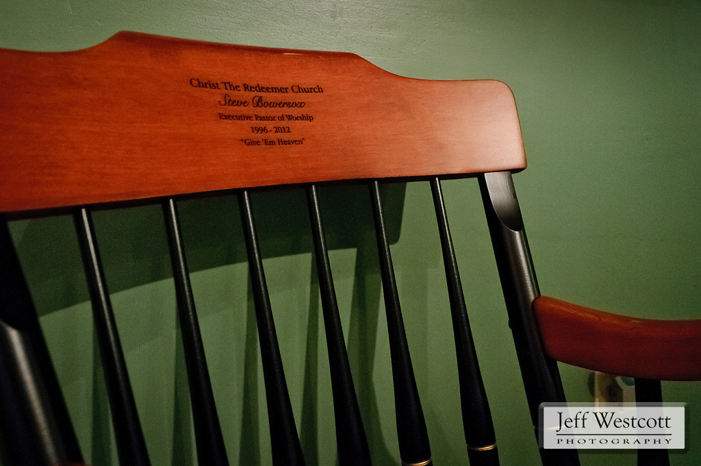 "This Windsor chair, which was a gift from the worship team at Bowersox's former church, is inscribed with words he always used with the team before going on stage: ""Give 'em Heaven!"""