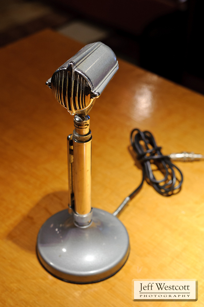 A vintage public-address microphone that still functions