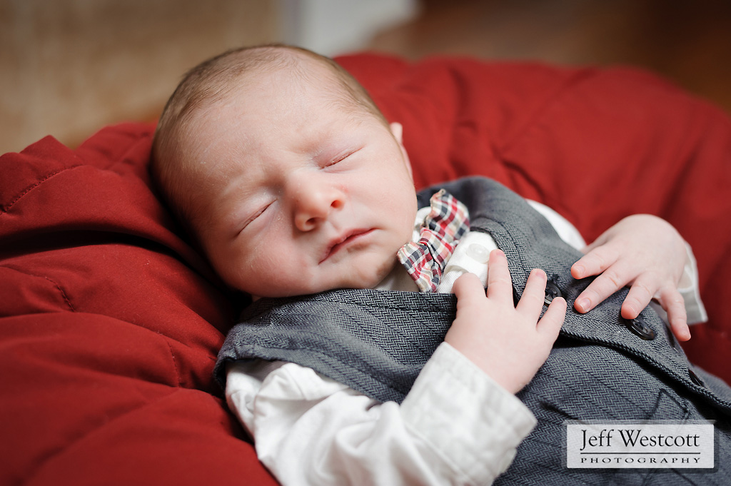 newborn baby boy at Christmas