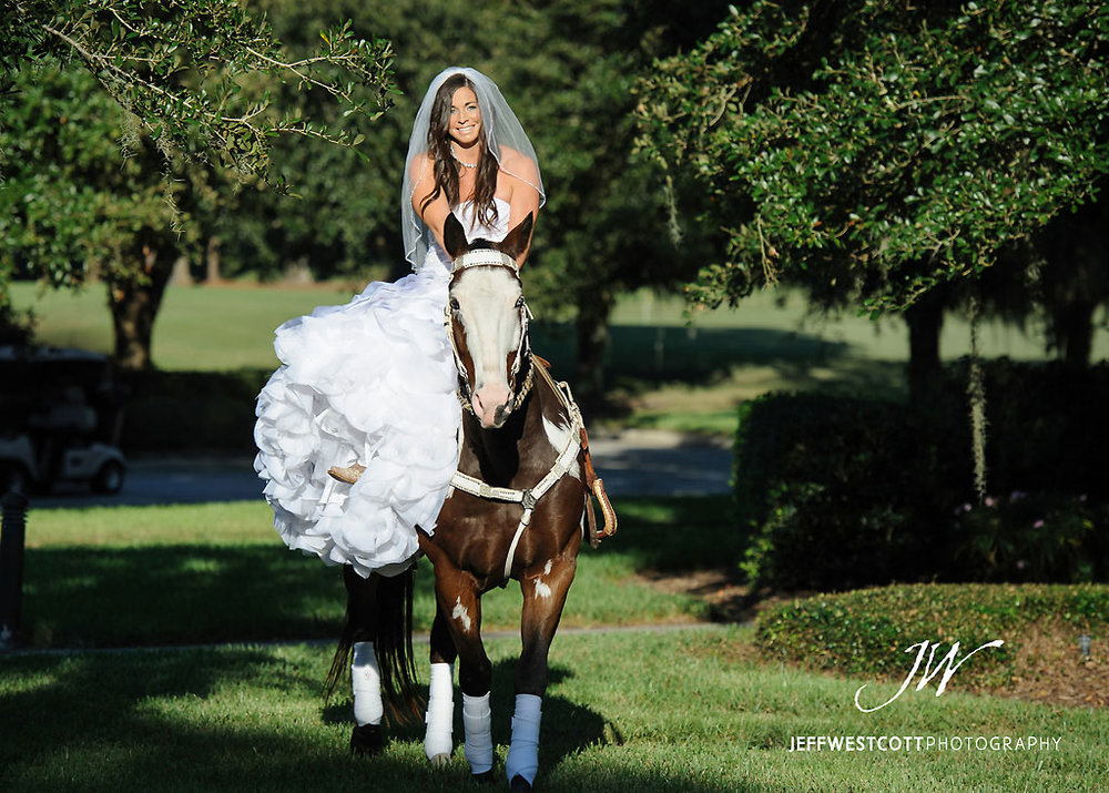 Bride with horse at wedding Golden Ocala