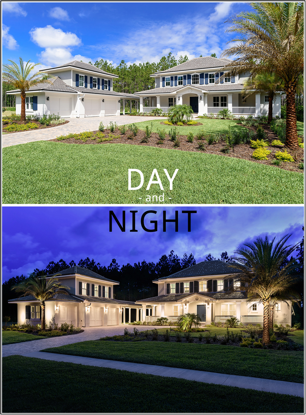 Although shot from a slightly different perspective, these two images of a Glenn Layton home in the Twenty Mile neighborhood in Nocatee, St. Johns County, illustrate the dramatic difference a few hours can make. Depending on your marketing needs, we can create daytime or nighttime images -- or both.