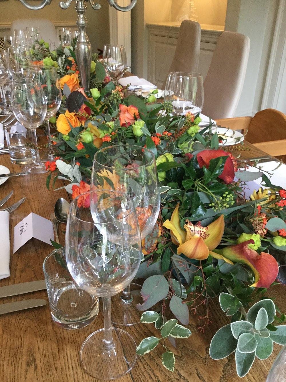 table flowers, milsoms, mr g's room. dedham