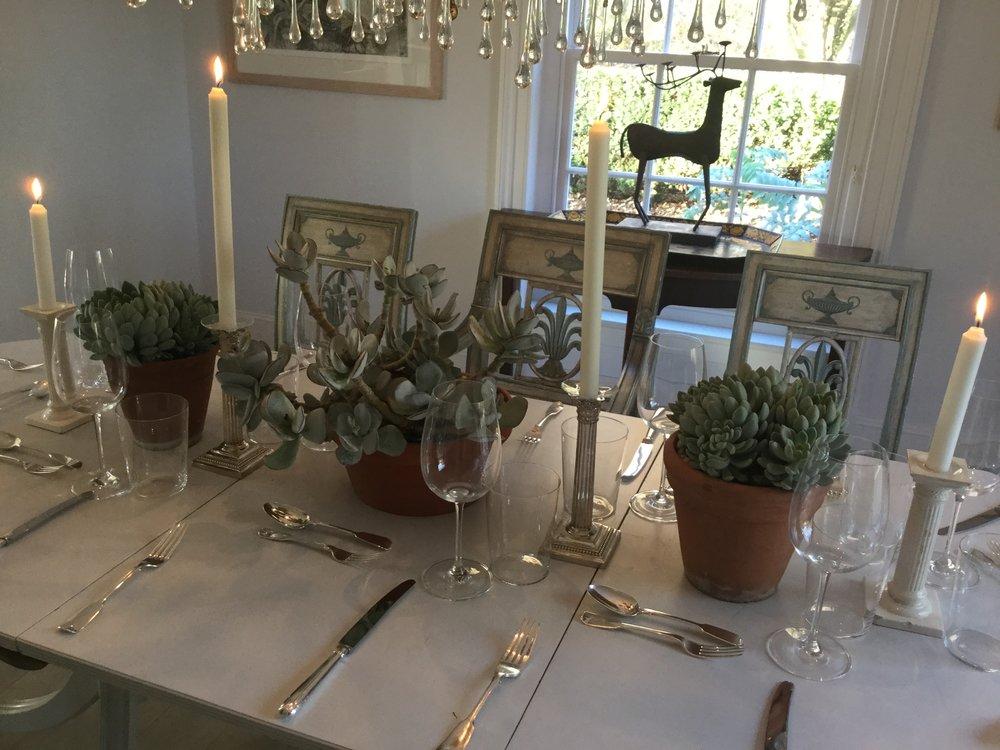 succulent table arrangements, east bergholt