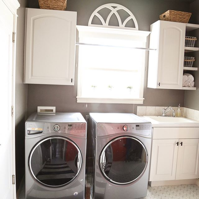 This whole laundry room refresh was $100 total.  We moved one cabinet from the other side of the wall, painted cabinets, built shelves from the material we removed, sprayed the counter top with appliance epoxy to make it white (for $3!  Thanks @prvbsthirtyonegirl) and used peel and stick tiles from Amazon on top of the existing linoleum.  That's my kind of makeover.  It doesn't have to cost a lot to make it feel like home! . . . #beforeandafter #budgetmakeover #laundryroom #cheapmakeover #housetohome #diyeverything #paintednonsense #darktolight #myhomestyle #diyer