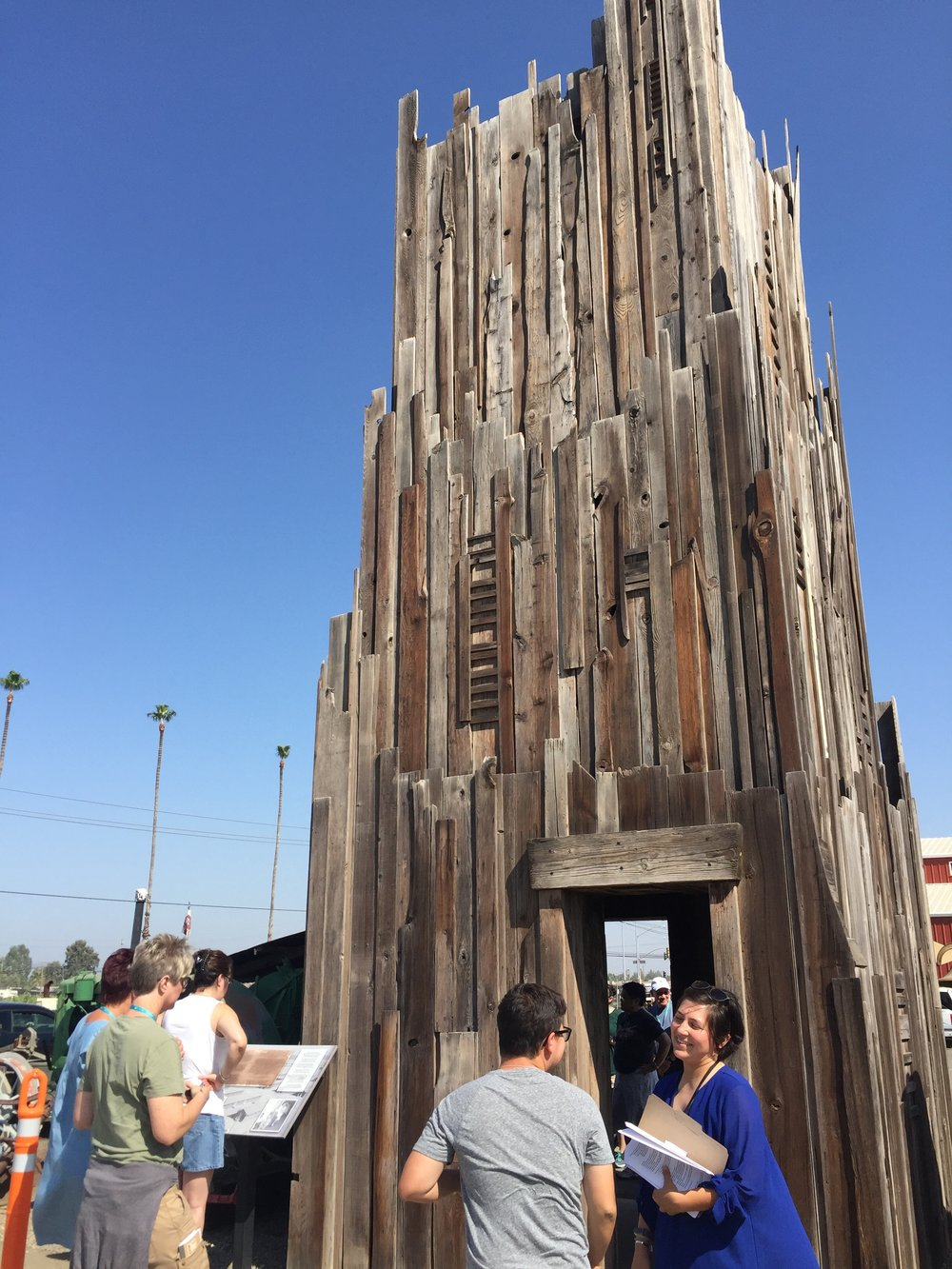 ymp participants at the soul-consoling tower at simonian farms in fresno -