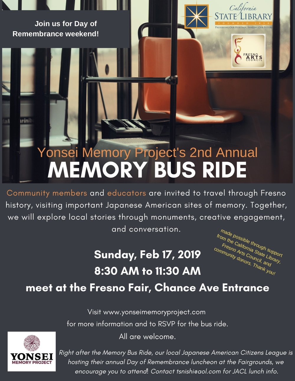 Above image: YMP's Memory Bus Ride flyer.