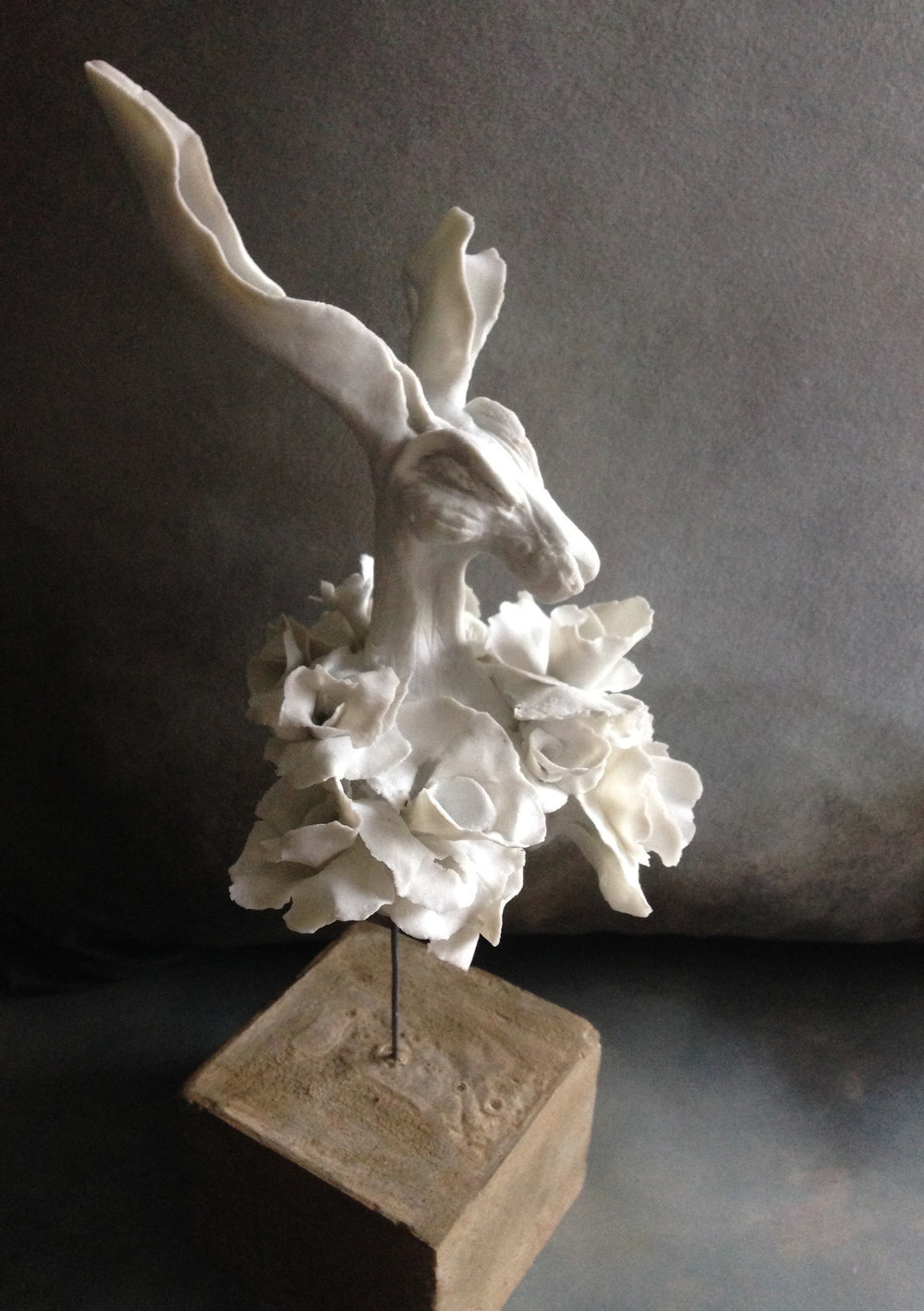 'Flowered Hare Bust' - SOLD