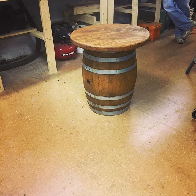 15 gallon wine barrel end table! Just finished staining it. #barrelfurniture #barreltable #woodworking