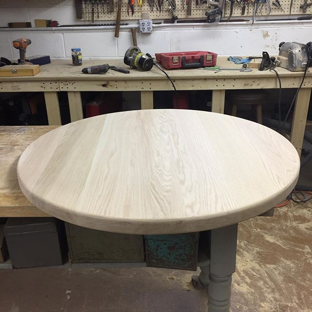 "Just completed a 40"" x 2"" thick unfinished red oak top for a customer. Are you suffering with a topless barrel?? Contact us for custom barrel table tops! Unfinished or finished.  #barrels #barreltable #redoak #woodworking #woodenfurniture #tables"