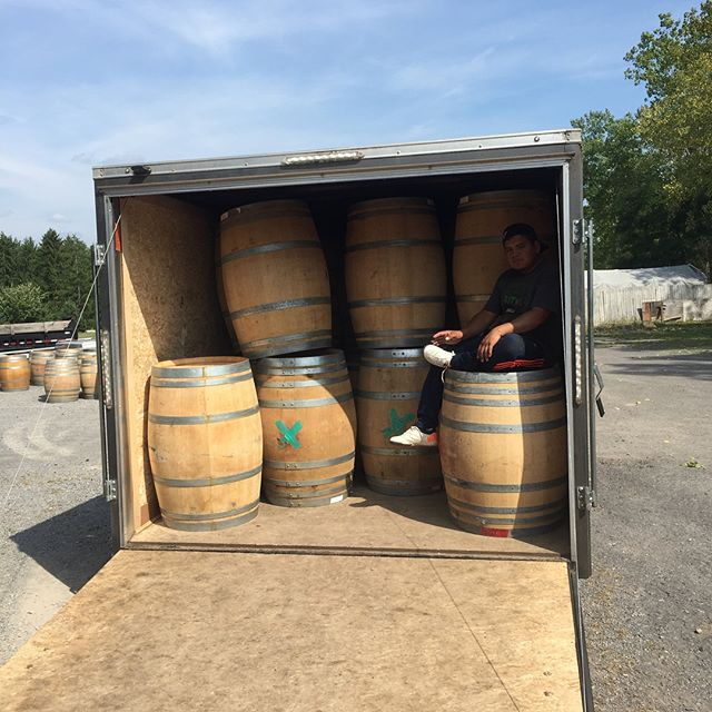 Shipment of wine barrels in. Dakota shy/ Detert family vineyards Cabernet Franc and Cabernet Sauvignon Donum Pinot noir paradigm Cabernet Sauvignon. These barrels smell as good as they look intense aromas from high end California red wines. Wine ready! #barrelaged #wine #winebarrels #cabernetsauvignon #cabernetfranc #dakotashywine #donum #paradigmwinery #californiawine #wineries #breweries