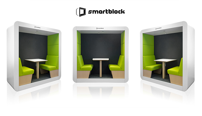 "Smartblock is the most comfortable workspace cube in the world"". Smartblock is a MOBILE and MODULAR furniture. Integrated plug and play technology, great acoustics and ergonomic comfort are all included. Smartblock is your creative meeting space."