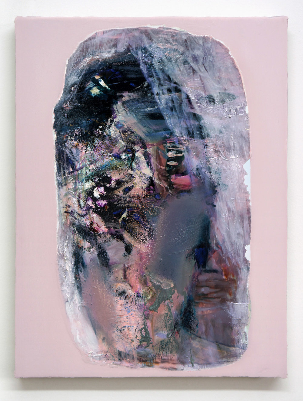 mercury (shrouded),  2018, oil, pigments and pastel on linen on panel, 40 x 30cm