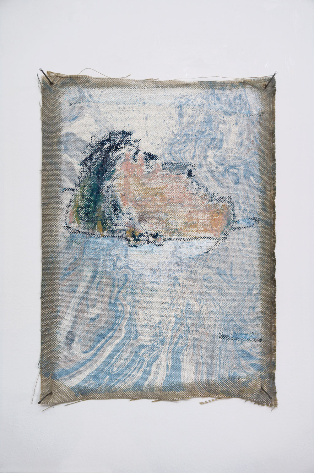 isle,  2018, oil paint, water, nails and oil pastel on gesso on linen, 30 x 25cm