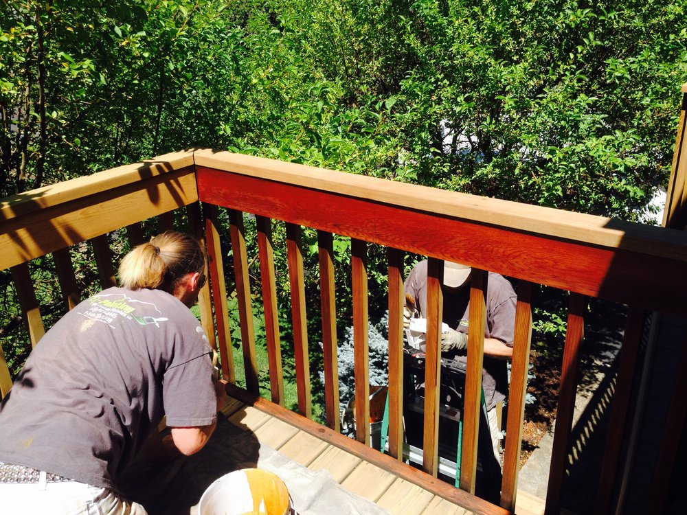 Deck Refinishing / Staining - We sand, buff, and bleach imperfections out of your deck.  Stain and finish for a beautiful outcome and a brand new looking deck.
