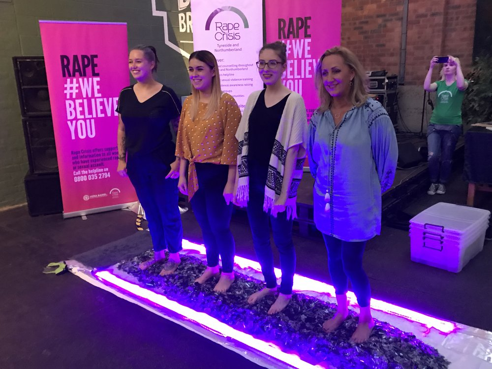 Team CRYSTLSD walked on broken glass to raise money for Rape Crisis Tyneside and Northumberland