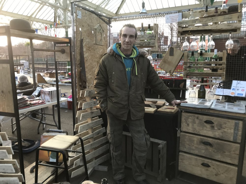 Aaron of Reclaimed Earth Designs, who can be found at Tynemouth Market on Sundays