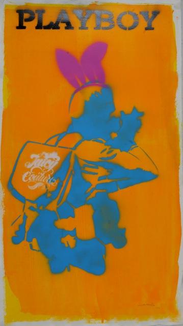 hussein almohasen plastic toys series stencil graffiti on paper  2014.jpg