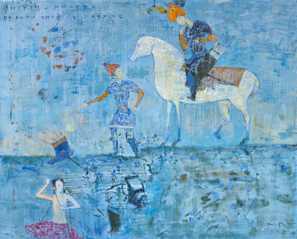 Reza Derakshani, Khosrow and Shirin Series, Mixed Media on Cavas, 120x150cm, 2009.jpg