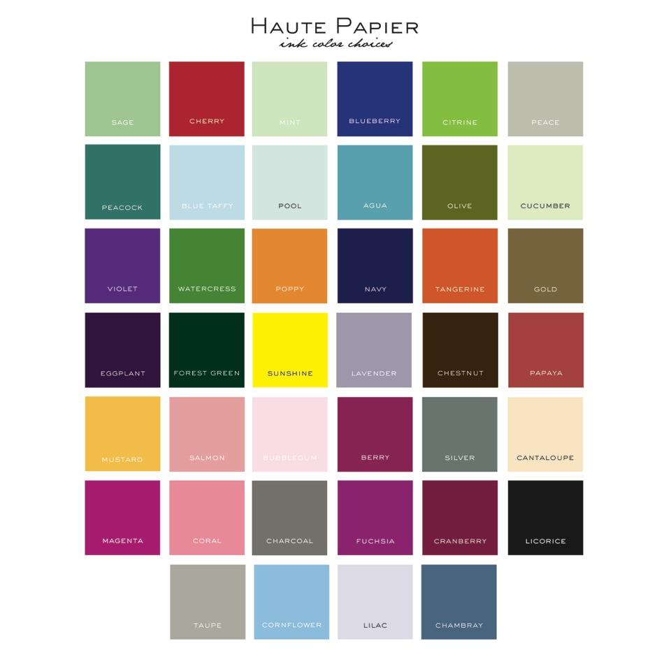 Letterpress Ink Color Choices