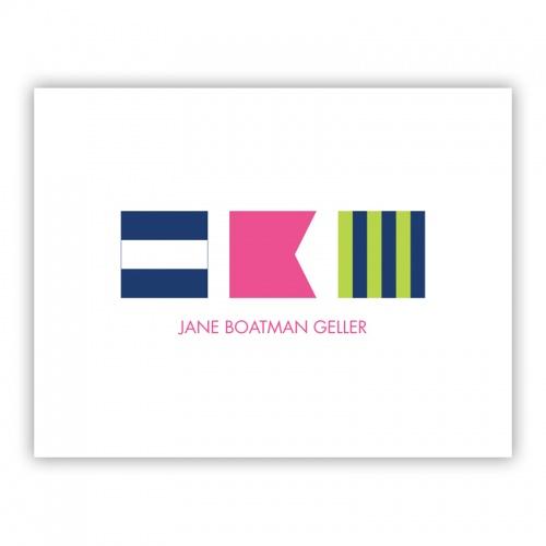 Nautical Flags Monogram Pink