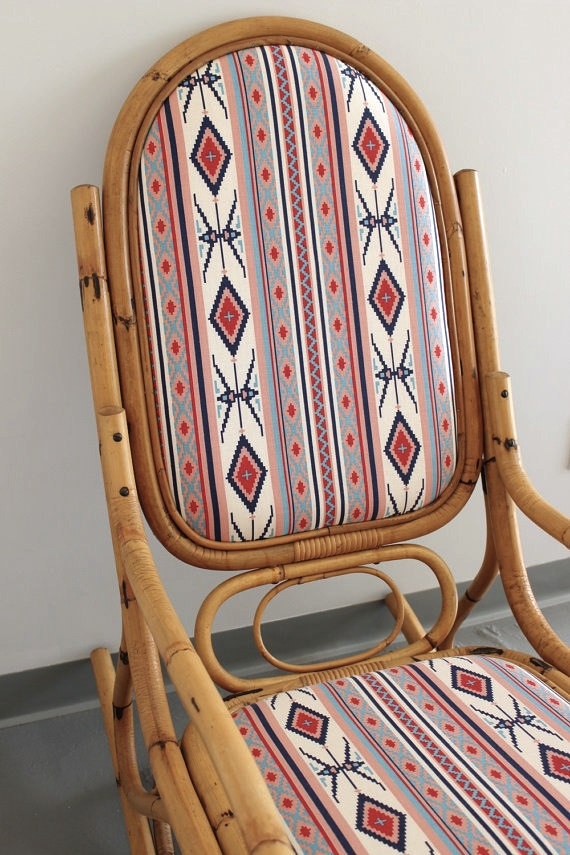 Bamboo Cane Rocking Chair With Southwestern Upholstery
