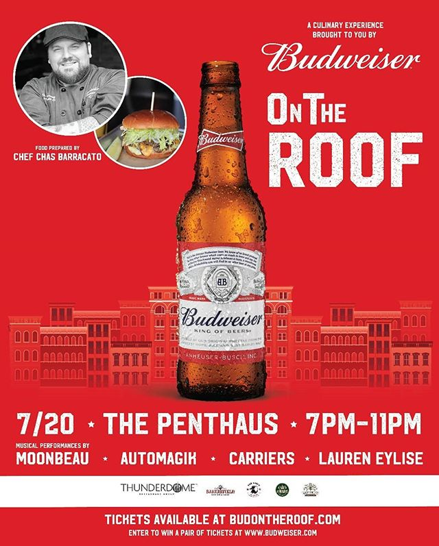 Next Friday, let's enjoy a night on the Rooftop!!! Friday, July 20th: https://t.co/iIOIzXdiOF  Live Performances: @_moonbeau, @LaurenEylise, @Carriersmusic, @automagikmusic  Thunderdome Grilling Out: @KruegersTavern, @TheEagleOTR, @BakersfieldOTR, @MaplewoodCincy  Good music, great food, a view of OTR and ice cold @Budweiser. https://t.co/o4tFspui20