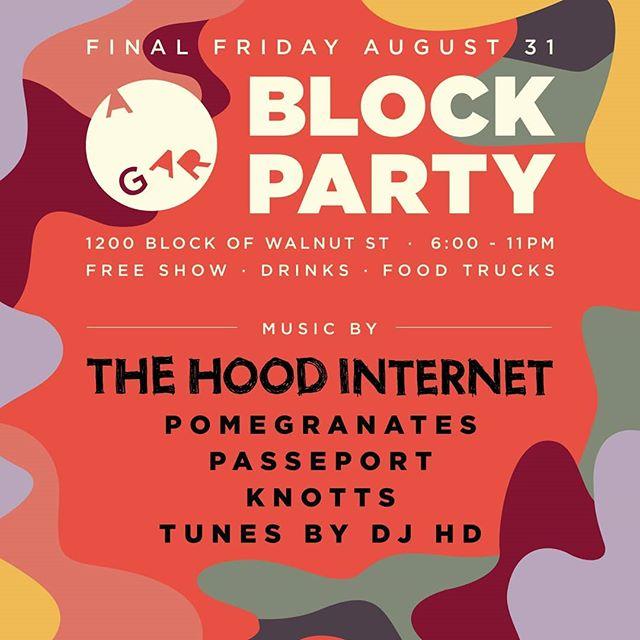 #Cincinnati #Chicago #LaborDayWeekend . . #FinalFriday #Cincinnati  @agaragency #BlockParty live performances by @pomegranates____ @thehoodinternet @passeportmusic  @knotts @djhdlikethetv 6p - 12a . . #Afterparty @aladdinseaterylounge until 2a Friday & Saturday DJ ANDRES & DJ PILLO . . #AfroBeat #Latin #DeepHouse #Soca #Top40 #HipHopSoul