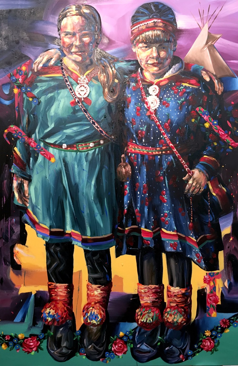 """""""Samí Solidarity""""   72"""" x 48"""" Oil on Canvas 2017  Completed to show the direct correlation between Indigenous peoples that share similar land struggles and coming together to support each other in times of need and action.  October 1st, 2016, North Dakota- these two Samí Women ( Indigenous to northern Norway, Sweden and Finland ) were departing the Oceti Sakowin Camp, resistance camp of DAPL Pipeline. I took the photo because it was a moving moment- one that echoed a beautiful reality in a landscape that was divided and shadowed a paralleled past.  We all need to unite and come together far and wide to help each other, share and show solidarity in the face of government woes- today's struggles are ever apparent in our daily lives- it's important to be reminded of the loving human spirit that exist- as an artist it's something I've found important to do and share. They are wearing traditional cloths called gákti, it is worn both in ceremonial contexts and while working, particularly when herding reindeer. The traditional Sami outfit is characterized by a dominant color adorned with bands of contrasting colors, embroidery, tin art, and often a high collar. In the Norwegian language the garment is called a 'kofte'."""