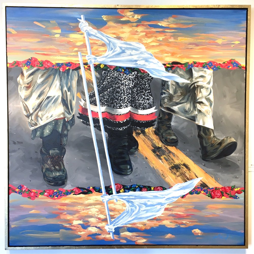 """""""White Buffalo Calf Women March""""   62""""x 62""""2017  This painting respectfully depicts the moving moments both physically and spiritually of the Women led movements with and during the NoDAPL camp. The White Buffalo Calf Women March happened on November 27th 2016 at Oceti Sakowin Camp, Cannon Ball, ND & highway 1806.  This was a Women's Prayer march, white flags and skirts were worn to show solidarity with each other but also to invoke the strength and power associated with the White Buffalo Calf Woman story- coming together in prayer that the collective prayers be answered to stop the Dakota Access Pipeline. Personally a few moments were beyond touching for me while there, moments I thought I would never have seen in my lifetime- a look into the past, the strength of our indigenous nations coming together to corral our beliefs and cast them on hope, perseverance and show the world unity exist in strength and numbers.  I wanted to depict that day, the strength by unity- marching, boots on the ground- the middle road """"HW 1806"""" the buffer zone between good and bad, the front lines. the median plays the connecting points from past and present. we have fought this fight before and continue to.  I witnessed a beautiful sunset while at camp a few days after this march- a three day blizzard was about to hit but before so a sunset revealed itself immaculate. The white flags do what they will- alerting all eyes that fall upon it, what does it  mean to you? its a symbol of hope, prayer and traditions carried through a visual but modern form- the waving of a flag in mass- we pray, we care and continue to hope."""
