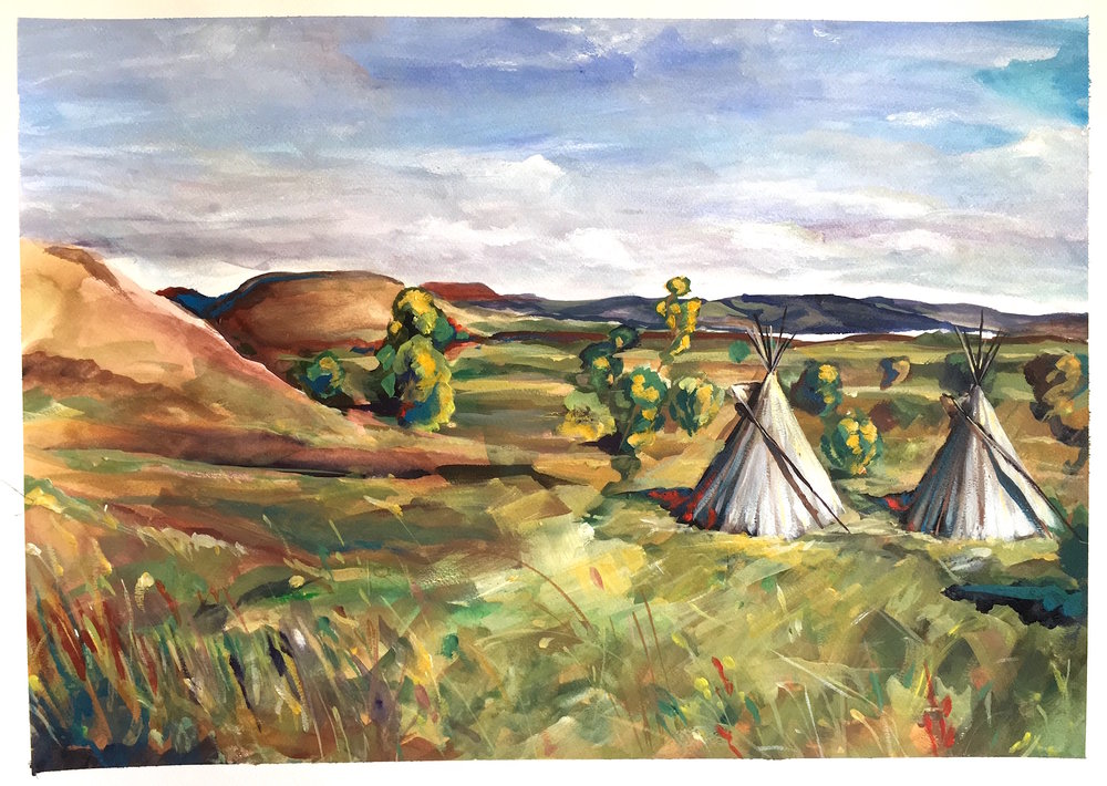 Hunkpapa encampment, North Oceti Sakowin camp  - October 1st 2016 6:30pm  At the time this was painted these two tipis were the most northern structures in the whole Oceti Sakowin encampment and the closest to backwater bridge which is just over the hills on the left. In the distance a lone hill rises from the landscape also known as Turtle Island, claimed by both Standing Rock Sioux and Army Corps of Engineers this land is said to be territory unceded by the Sioux to the federal government, diminishing the Army Corps claim of ownership. Through ongoing federal government hypocrisy and the failed consistency to honor numerous treaties- this sacred hill and site where burial grounds are present and also a notable location where many actions, prayers and ceremonies take place- has been reclaimed as our own. To this day the hill still represents the front line as well as backwater bridge, both locations are abused and patrolled by SWAT/ DAPL Military.  The sun was setting and the air alive with anticipation- the scent of campfire smoke and sounds of all kinds echoed throughout the camp, it was Saturday afternoon and the camp was growing for the weekend. I picked this spot for the openness to capture the Dakota landscape- to capture the beauty that runs through the camp and landscape of Standing Rock. Staring out into the landscape, studying my view I was transfixed with what I was seeing. As history repeats and goes this same location had tipis in the 1880's when Standing Rock was formed some time before- and even before then when many bands of Sioux traversed these same hills and landscape and still even prior home to the Mandan tribe.  As I was painting I saw many horse riders travel up a path between the hills on the left, these hills were off limits to protect the burial sites that rest there, open for travel though on the path. I saw an older man leading a group of younger students it seemed, all native- collecting and picking sage around the tipis, later that nig