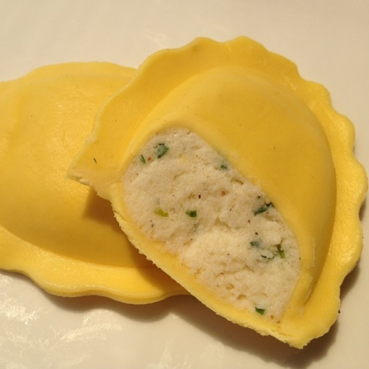 "Three Cheese - Egg Pasta   Jumbo 3.75"" Oval (10-12 per lb.) - 10 lb. Bulk  Making its Debut with Ricotta Cheese, Imported Romano Cheese, Parmesan Cheese, Fresh Parsley, with a touch of Nutmeg & Pepper an Italian Tradition."