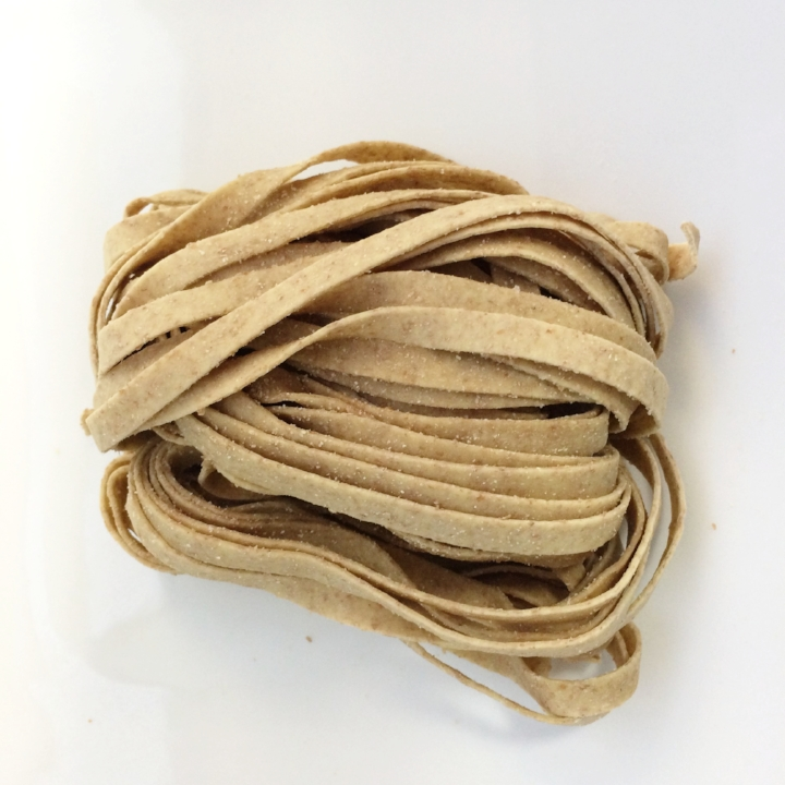 Whole Wheat Fettuccine   10 - 1lb. gas flushed pouches / case. 4 - 4oz portions / lb. 6 mm wide - 1.25 mm thick