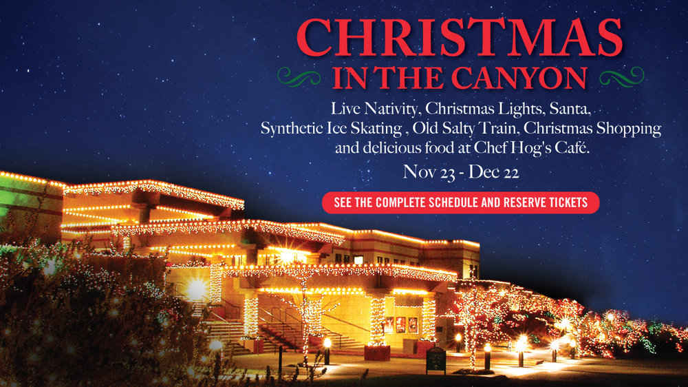 Come celebrate Christmas at Tuacahn this holiday season! With over 250,000 twinkling lights, synthetic ice skating, a live nativity show, train rides, and a visit with Santa Claus, you don't want to miss Tuacahn's Christmas in the Canyon event! For dates and times of Christmas in the Canyon and Fairy Tale Christmas Schedule, view the    calendar   .
