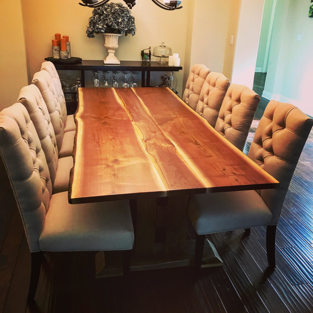 Live edge dining room tables