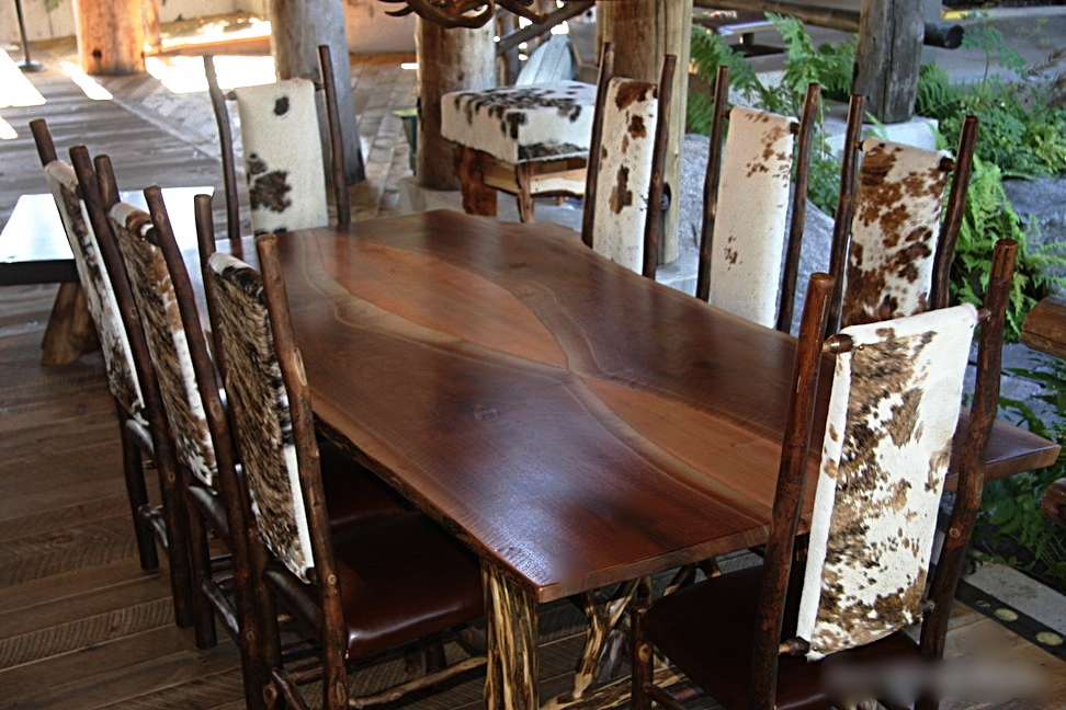 Curly Walnut and Curly Maple Book matched table with hickory chairs.