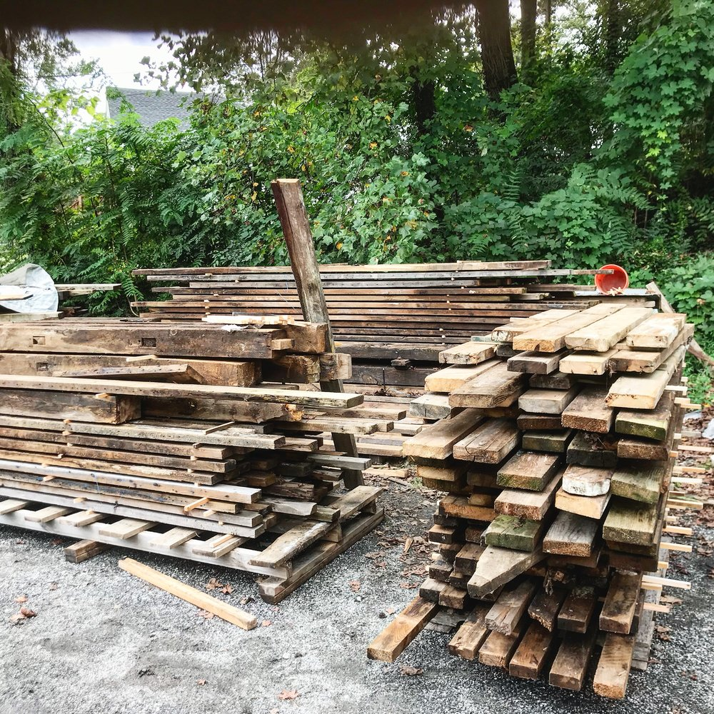 A small sample of our barn wood inventory. Our barn wood is de-nailed and sterilized with heat.