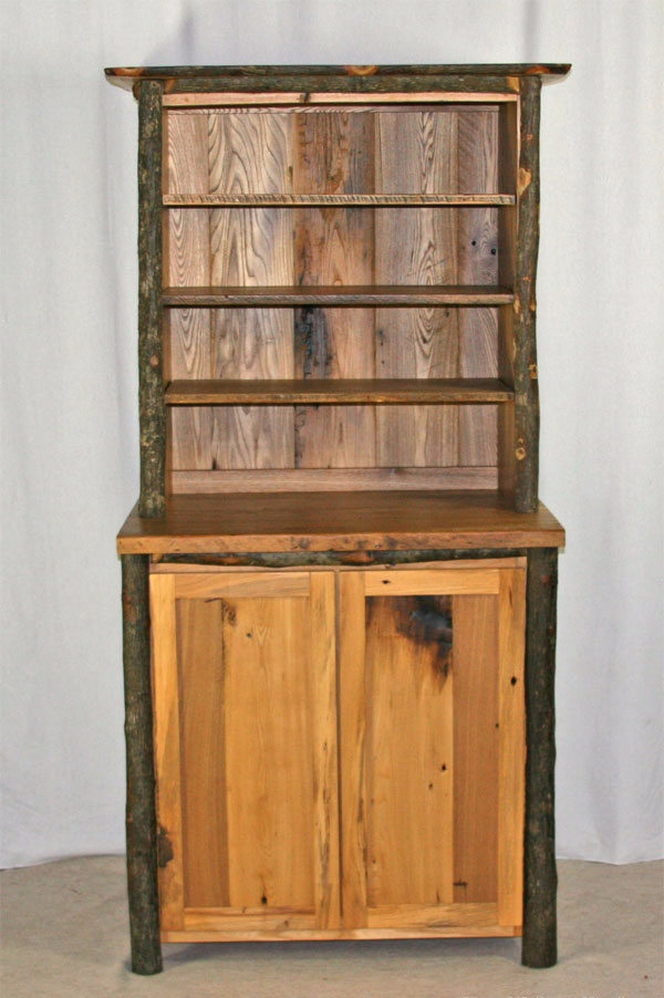 Salvaged barn wood and hickory hutch