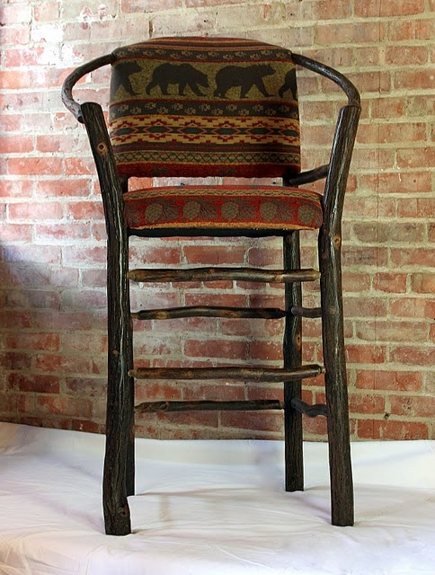 "Hickory hoop bar stool, available in 24"" or 30"" heights"
