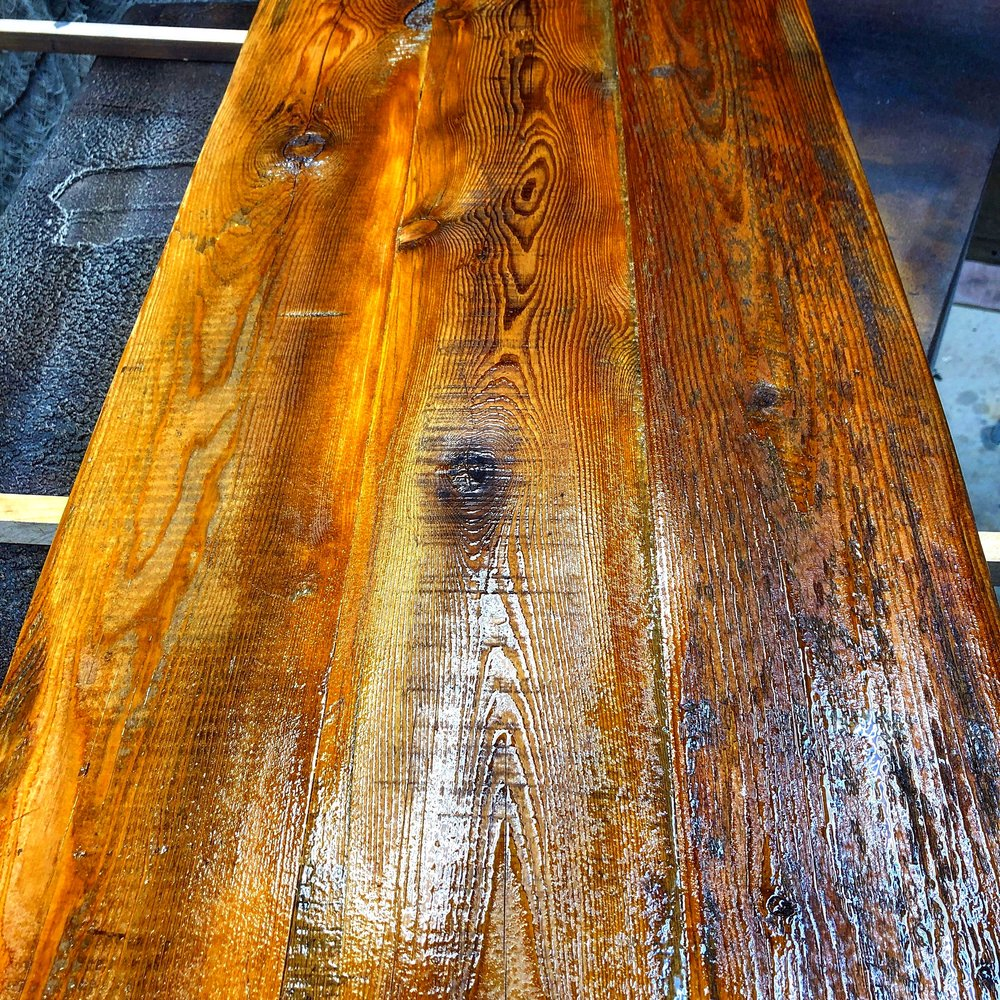 """Barn wood shelves for a new business in SC. 2"""" thick authentic barn wood with 4 coats of lacquer to made sure they are durable for a long, long time."""