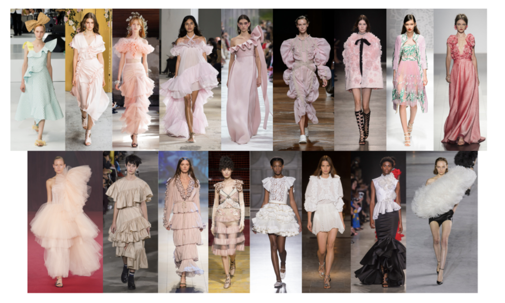 Designers clearly had feminism on their minds. Plenty of pink was seen on the runways, accompanied by ruffles, 3-D florals, tulle, and voluminous silhouettes. There is an undeniable sense of romance and an embrace of classic femininity. While in the past so many collections have had an androgynous and edgy mood, these flouncy designs are a refreshing change. After taking a Fashion History course last semester, it was clear that many designers looked upon the past for inspiration. The ruffled sleeves and ornate details reflected upon 18th and 19th century fashions. Think modern day Marie Antoinette.