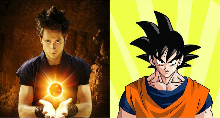 Justin Chatwin, a Caucasian actor, playing the role of Goku.